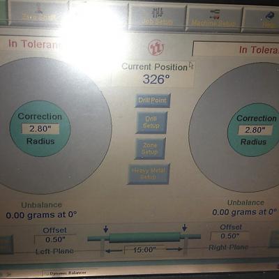 obrazovka vyvažovacího stroje